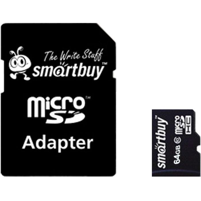 Фото - Карта памяти Micro SecureDigital 64Gb Smartbuy SDXC class 10 (SB64GBSDCL10-01) + SD адаптер карта памяти smartbuy micro sdxc 64gb class 10 uhs i adp