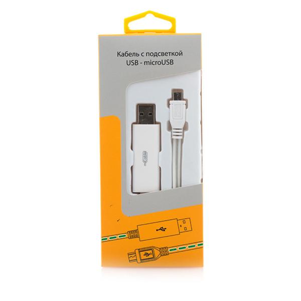 Фото - Кабель USB-MicroUSB Gmini mCable MEL200 with blue light 80см кабель брелок microusb gmini gm mus200fkp плоский розовый