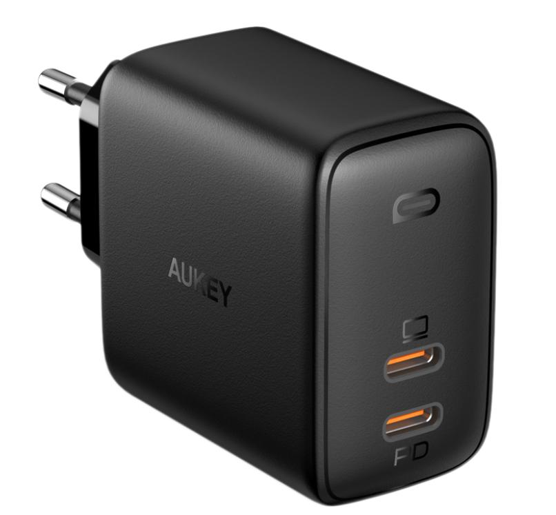 Фото - Сетевое зарядное устройство Aukey Omnia Duo PD PA-B4 65W 2xUSB-C, черное сетевое зарядное устройство aukey dual port wall charger pa d1 30w usb usb c черное