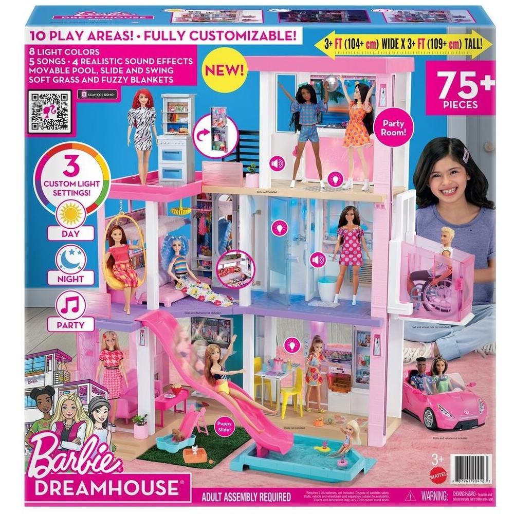 Mattel Barbie Дом Мечты трехэтажный с мебелью, лужайкой и бассейном GRG93