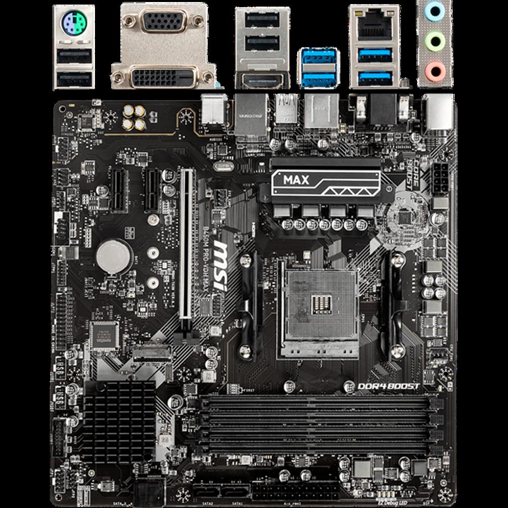 Материнская плата MSI B450M Pro-VDH Max B450 Socket AM4 4xDDR4, 4xSATA3, RAID, 1xM.2, 1xPCI-E16x, 4xUSB3.1, D-Sub, DVI-D, HDMI, Glan, mATX материнская плата gigabyte b450 gaming x b450 socket am4 4xddr4 6xsata3 raid 1xm 2 2xpci e16x 4xusb3 1 dvi d hdmi glan atx
