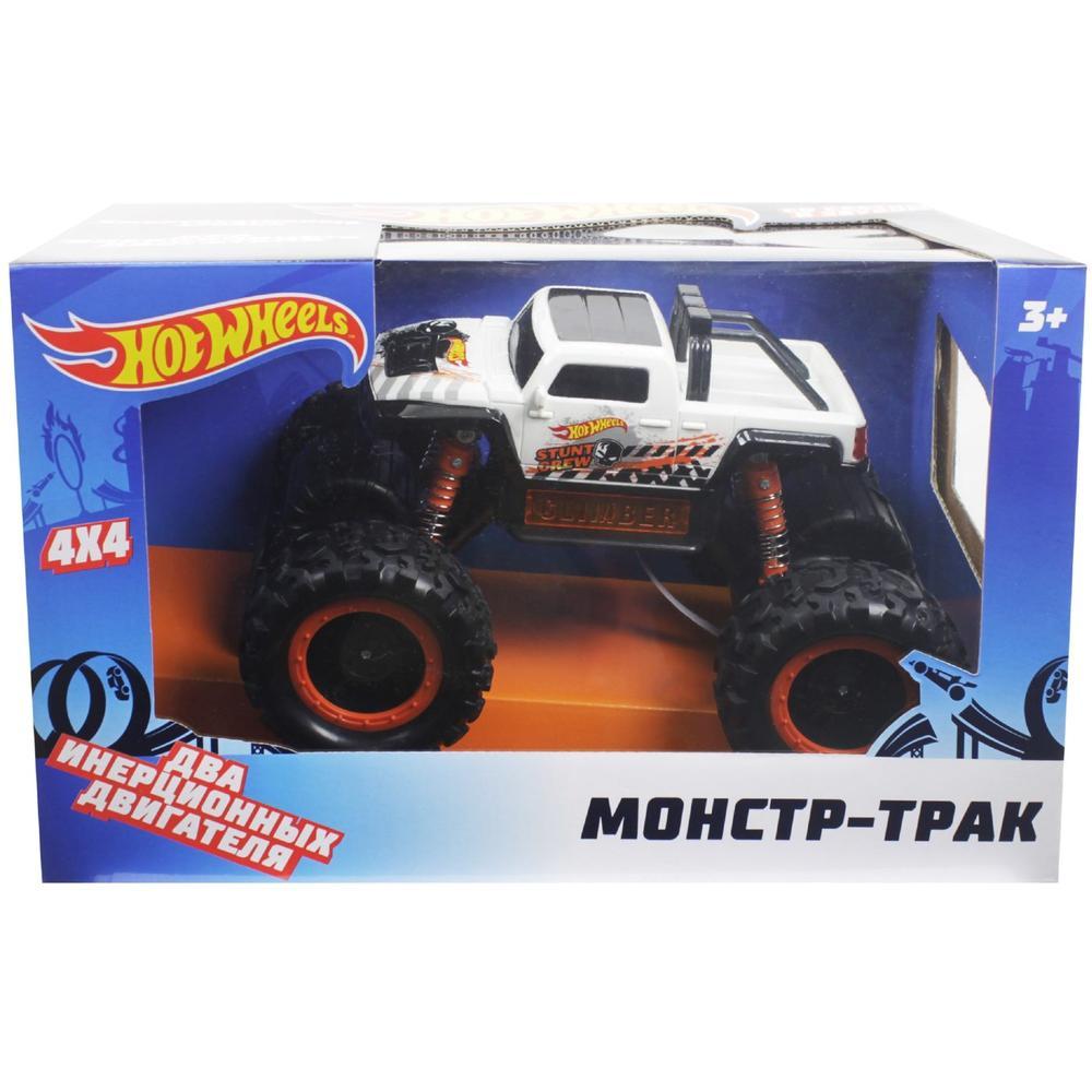 1Toy Hot Wheels Монстр-трак фрикционный, 1:16, с аммортизаторами, световые эффекты, белый Т14092