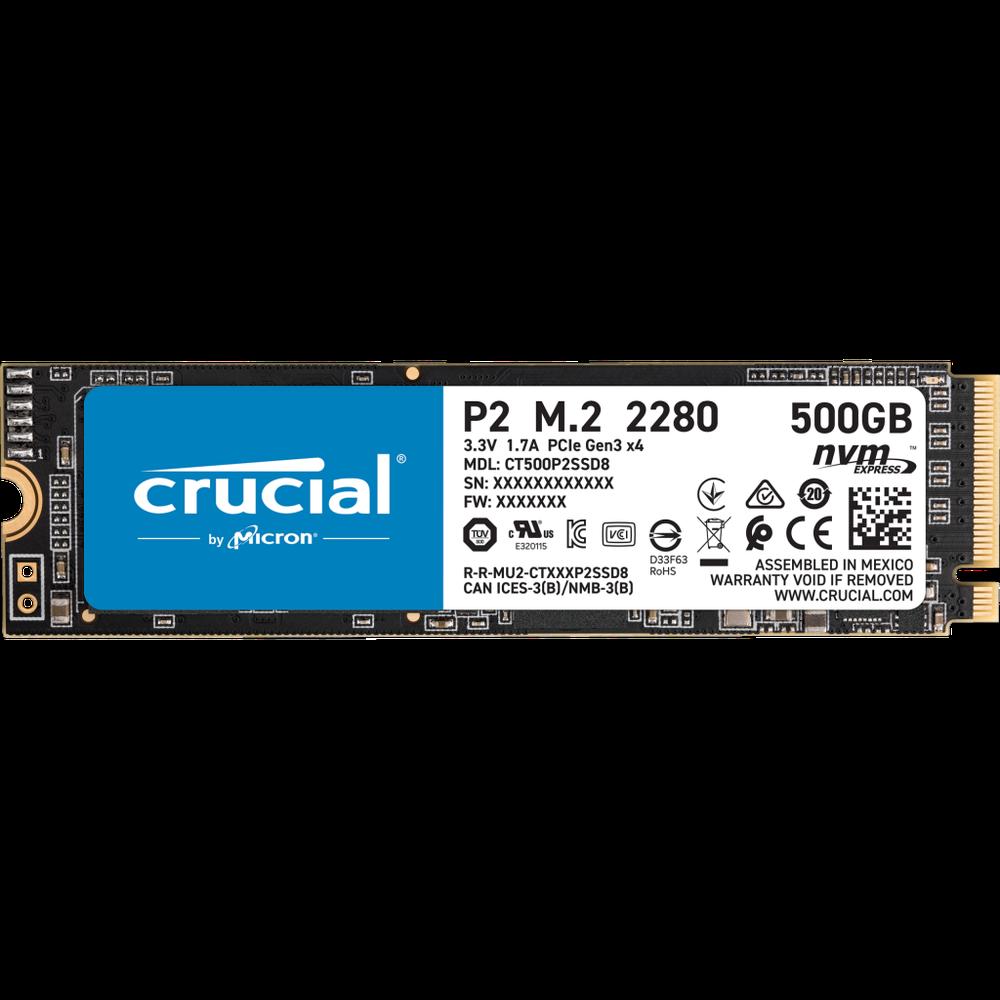 Фото - Внутренний SSD-накопитель 500Gb Crucial P2 CT500P2SSD8 M.2 2280 PCIe NVMe 3.0 x4 накопитель ssd crucial 500gb mx500 m 2 2280 ct500mx500ssd4n