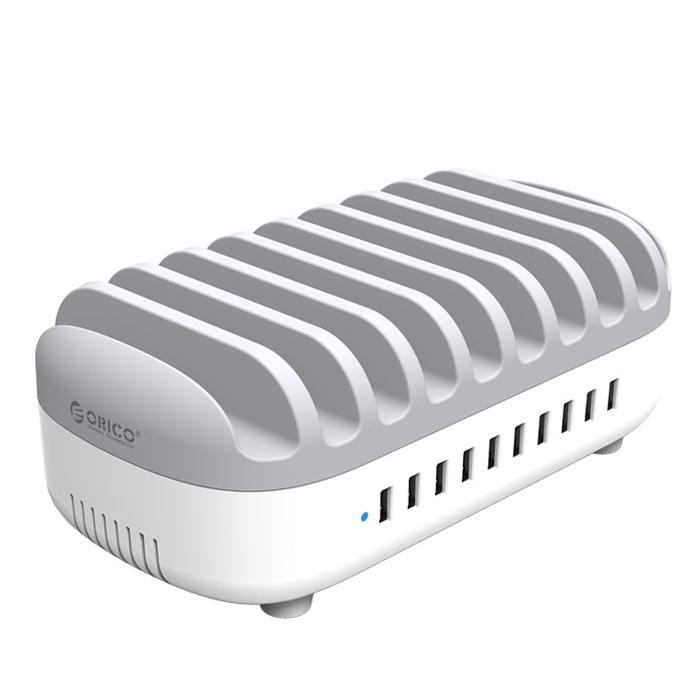 Фото - Сетевое зарядное устройство Orico DUK-10P-WH, 10 USB, 24A White сетевое зарядное устройство stm gl150