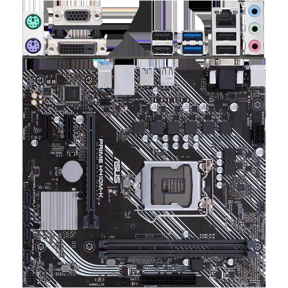 Материнская плата ASUS Prime H410M-K H410 Socket-1200 2xDDR4, 4xSATA3, 1xPCI-E16x, 2xUSB3.2, D-Sub, DVI-D, Glan, mATX