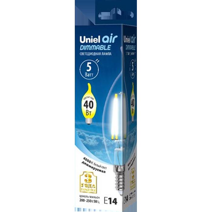Светодиодная лампа Uniel Air LED-CW35-5W/NW/E14/CL/DIM GLA01TR UL-00002865 светодиодная лампа uniel air led a60 7w nw e27 cl dim gla01tr ul 00002874