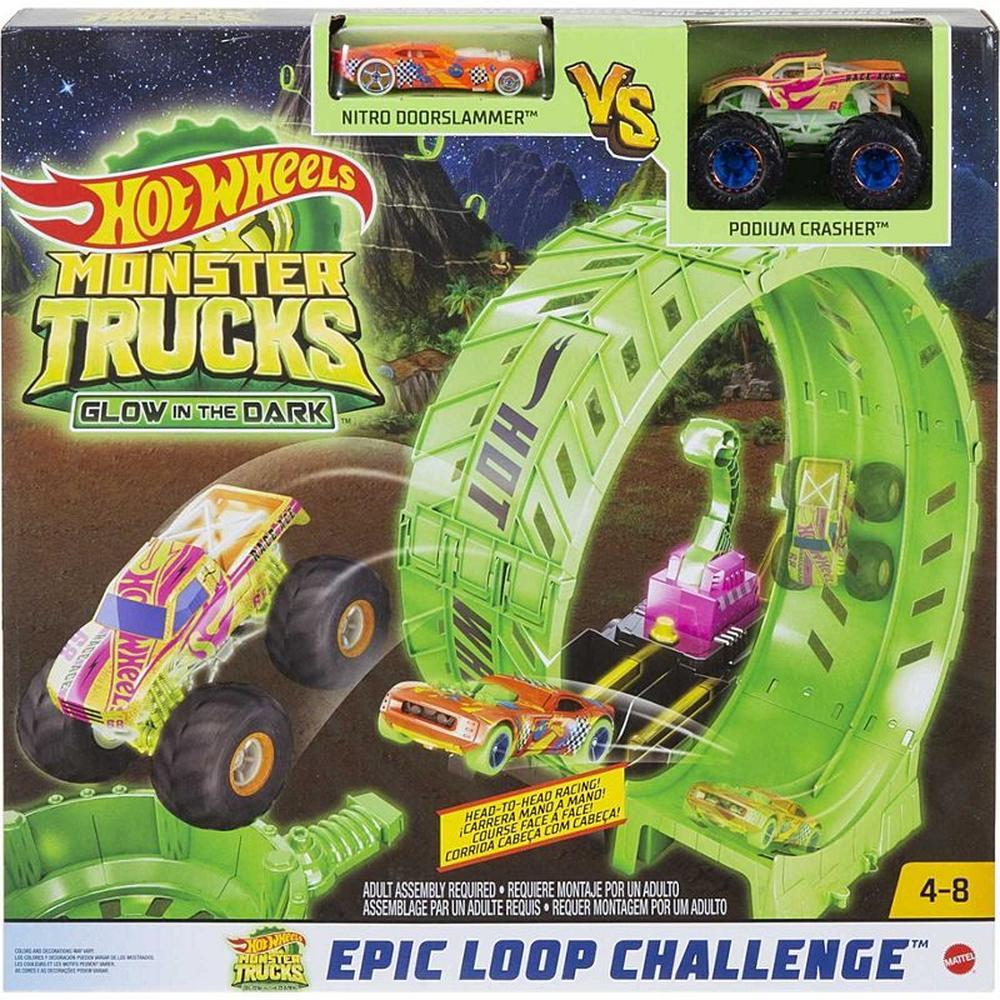 Mattel Hot Wheels Сити Монстр-трак Автотрек Мертвая петля (светящийся в темноте) HBN02 mattel автотрек hot wheels винтовое столкновение
