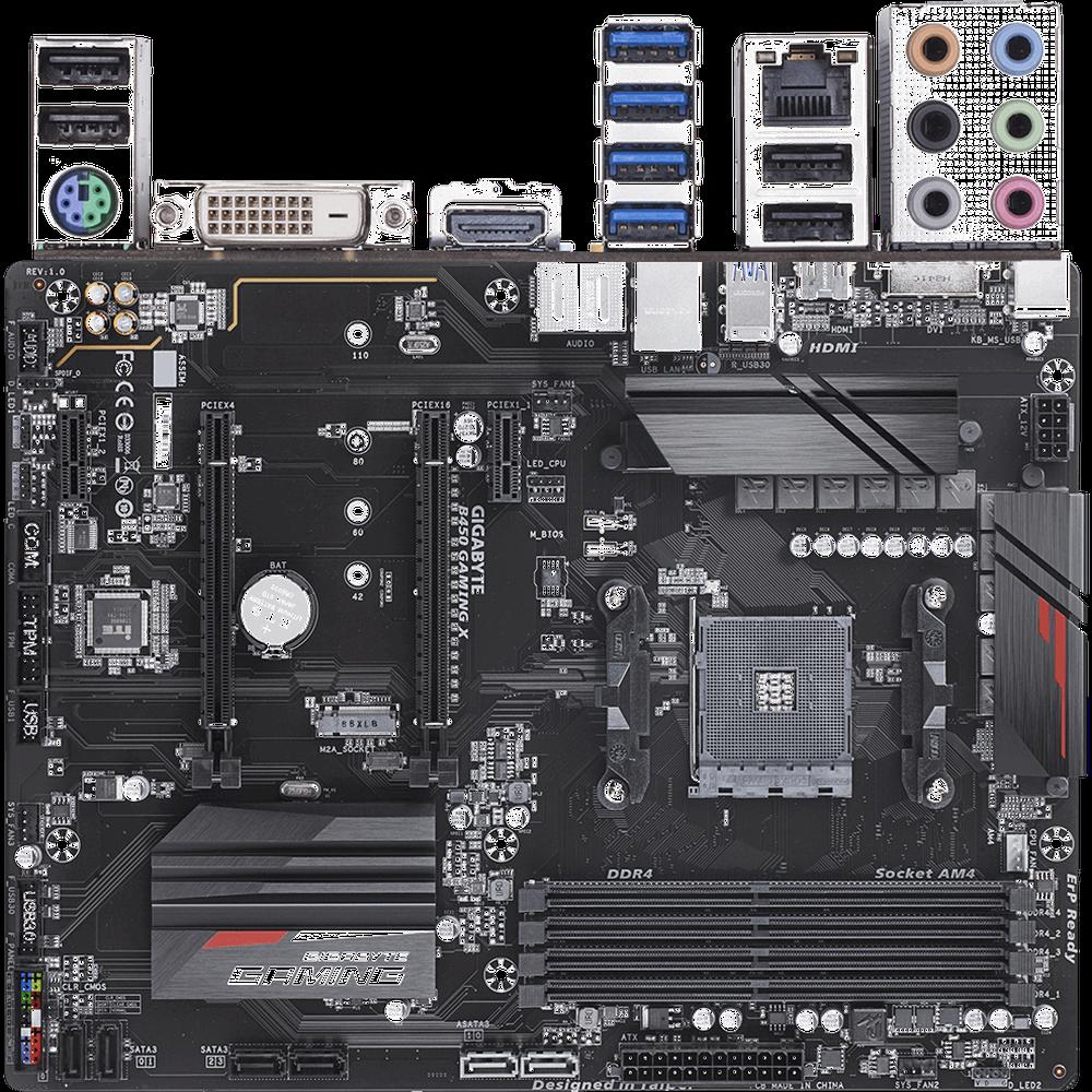 Материнская плата Gigabyte B450 Gaming X B450 Socket AM4 4xDDR4, 6xSATA3, RAID, 1xM.2, 2xPCI-E16x, 4xUSB3.1, DVI-D, HDMI, Glan, ATX материнская плата gigabyte b450 gaming x b450 socket am4 4xddr4 6xsata3 raid 1xm 2 2xpci e16x 4xusb3 1 dvi d hdmi glan atx