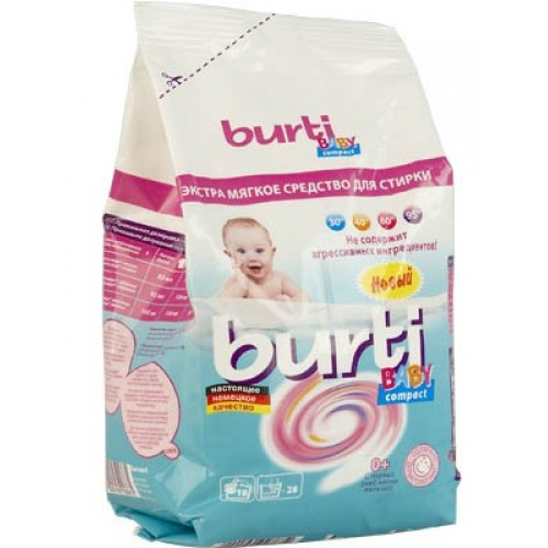Фото - Burti Стиральный порошок Детский концентрированный Compact Baby, 900 г. стиральный порошок funs clean с ферментом яичного белка 900 г