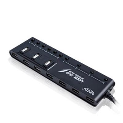 10-port USB Hub GiNZZU GR-380UAB (4 x USB3.0 + 6 x USB2.0) x h060 4 port usb 2 0 hub
