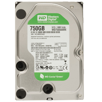 750Gb Western Digital (WD7500AZRX) 64Mb 5400-7200rpm SATA3 Caviar Green