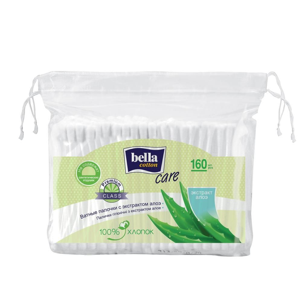 Ватные палочки Bella Cotton Care с экстрактом алоэ, пакет, 160 шт/уп. диски ватные bella cotton care с экстрактом алоэ 100 шт