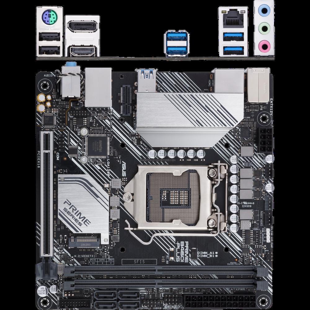 Материнская плата ASUS Prime B460I-Plus B460 Socket-1200 2xDDR4, 4xSATA3, RAID, 1xM.2, 1xPCI-E16x, 4xUSB3.2, DP, HDMI, Glan, mini-ITX