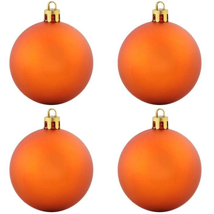 Нaбoр плacтикoвых шaров Snowmen 4шт d=10см в пакете оранжевый ЕК0294
