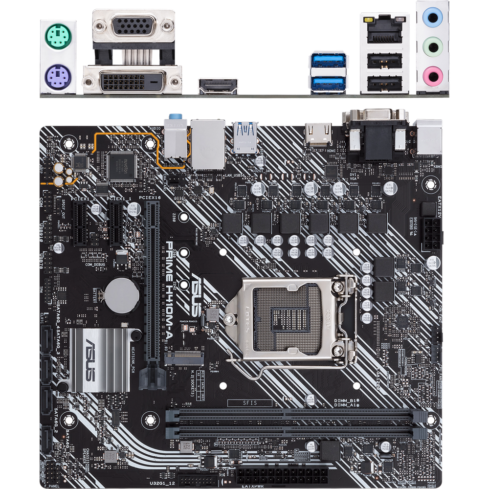 Материнская плата ASUS Prime H410M-A/CSM H410 Socket-1200 2xDDR4, 4xSATA3, 1xM.2, 1xPCI-E16x, 2xUSB3.2, D-Sub, DVI-D, HDMI, Glan, mATX материнская плата asus prime a520m a a520 socket am4 4xddr4 4xsata3 raid 1xm 2 1xpci e16x 4xusb3 2 d sub dvi d hdmi glan matx