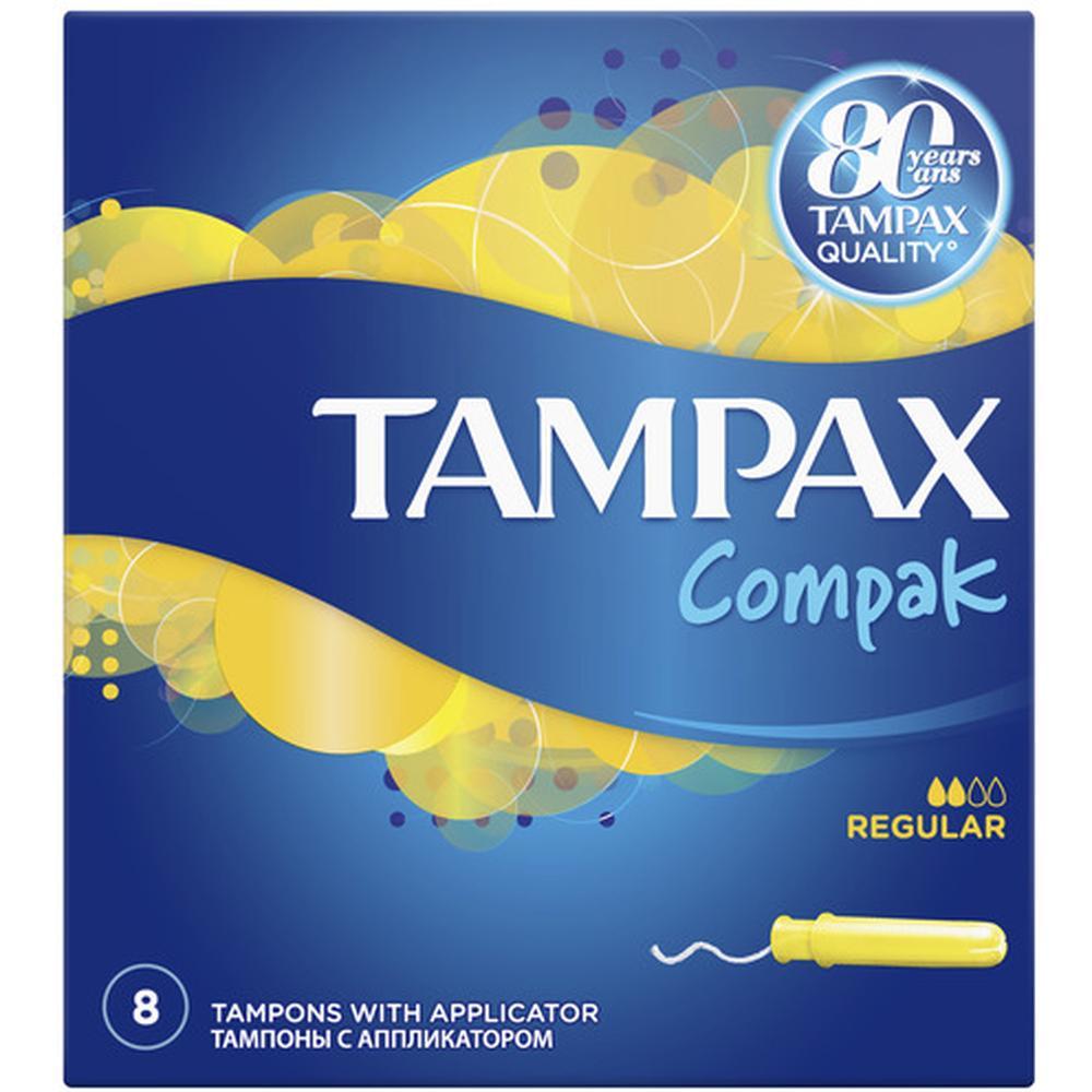 TAMPAX тампоны Compak Regular, 8 шт. tampax тампоны компак с аппликатором регуляр 8 tampax compak