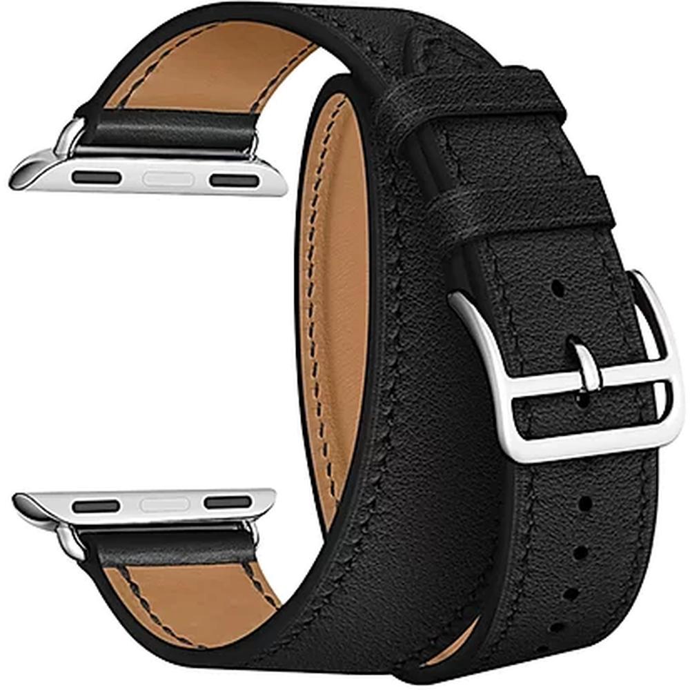 Ремень для умных часов Кожаный ремешок для умных часов Lyambda Meridiana для Apple Watch 38/40 mm Black lyambda ремешок двойной кожаный meridiana для apple watch 38 40 mm черный