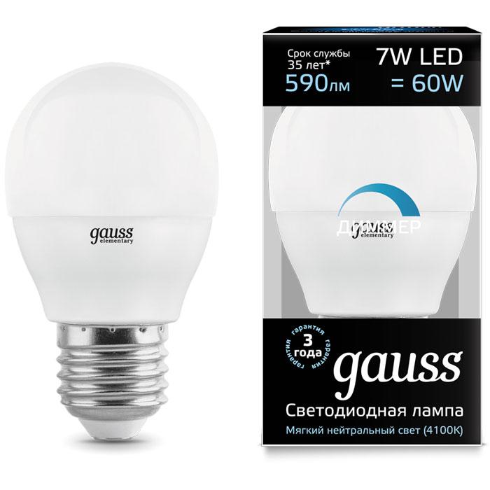 Фото - Светодиодная лампа Gauss Black LED Globe E27 7W 4100K Диммируемая 105102207-D лампочка gauss e27 шар dim 7w 590lm 4100k 105102207 d