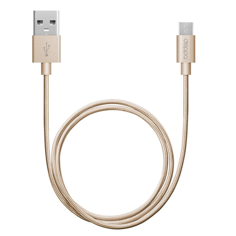 Фото - Кабель USB-MicroUSB 1.2m золотой Deppa (72191) алюминий/нейлон кабель aux pro deppa 3 5мм 3 5мм алюминий 1 2м серебро 72198