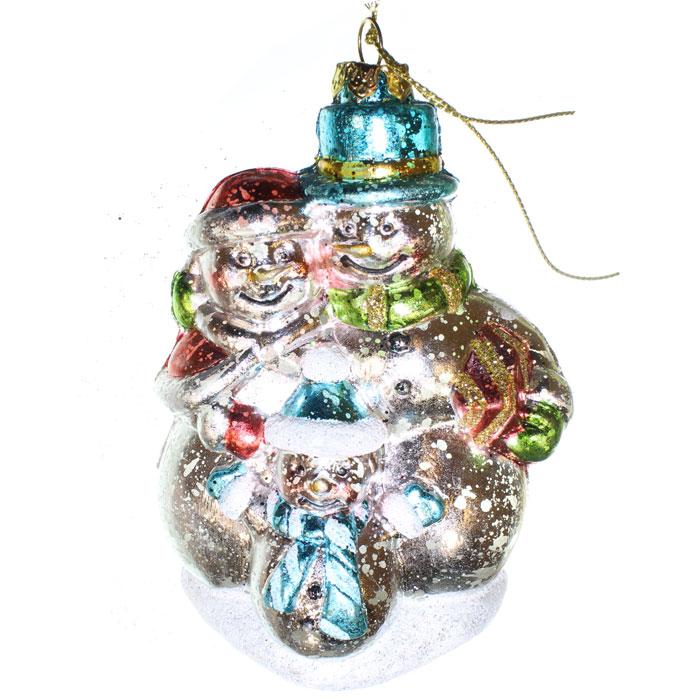 Ёлочное украшение Новогодняя сказка Снеговики 12 см (пластик)