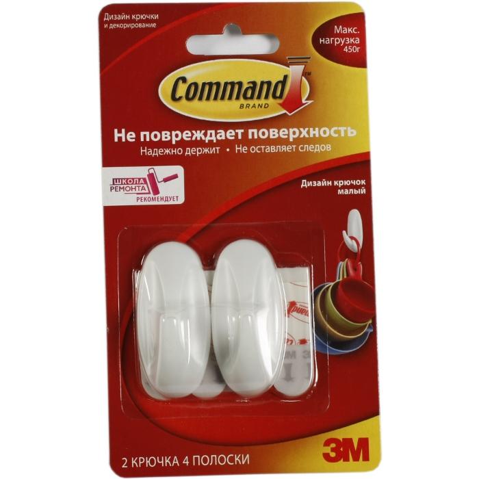 3M Command 17082 легкоудаляемый дизайн крючок малый 450г, 2шт