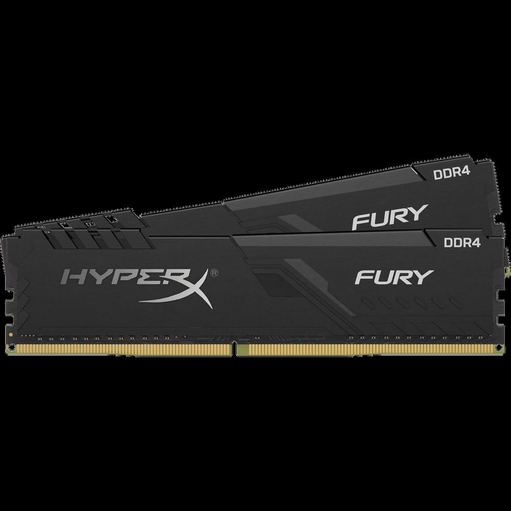 Фото - Модуль памяти DIMM 32Gb 2х16Gb DDR4 PC25600 3200MHz Kingston HyperX Fury Black Series XMP (HX432C16FB3K2/32) модуль памяти dimm 32gb ddr4 pc25600 3200mhz kingston xmp hyperx predator series hx432c16pb3 32