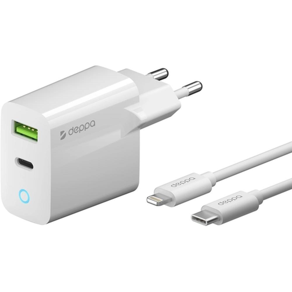 Фото - Сетевое зарядное устройство Deppa Ultra MFI Apple Lightning, 20Вт, Power Delivery QC 3.0 белое (11396) беспроводное зарядное устройство deppa 3 в 1 iphone apple watch airpods 17 5вт