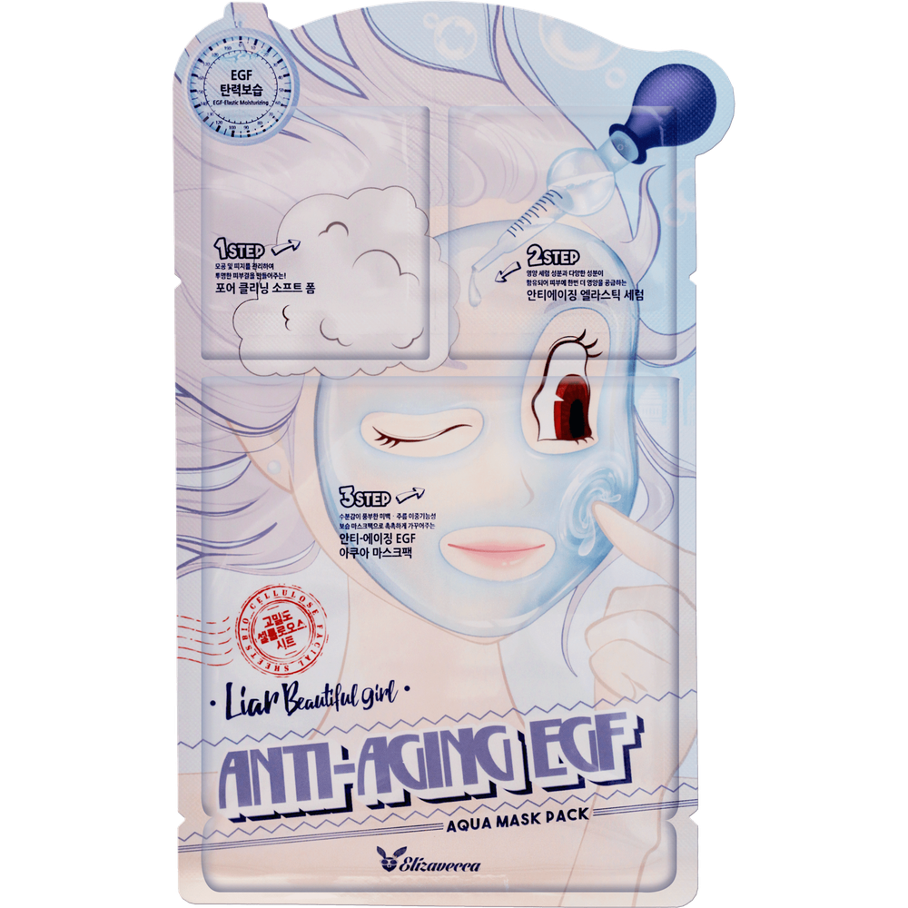 Elizavecca Маска трехступенчатая антивозрастная Liar Beautiful Girl Anti-Aging EGF Aqua Mask Pack , 1 шт. chi luxury black seed oil curl defining cream gel