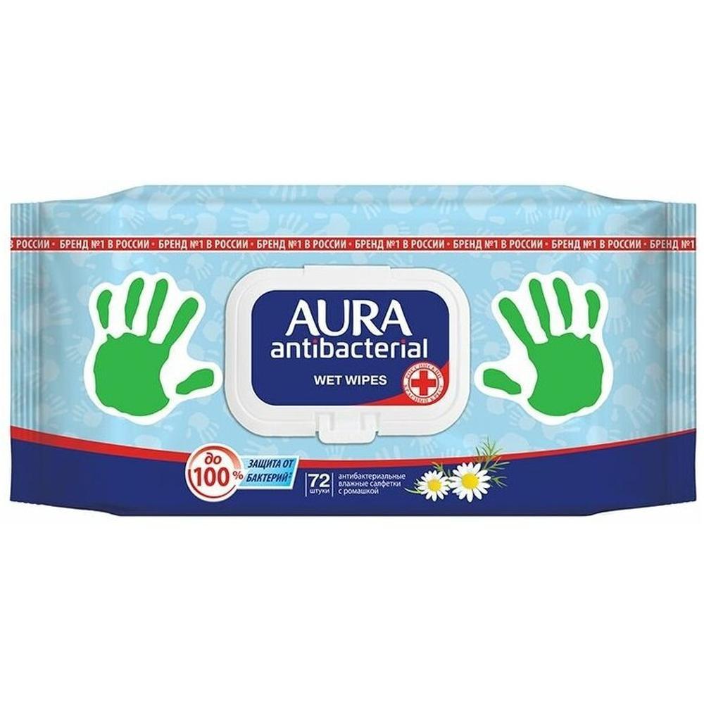 Фото - Aura Влажные салфетки антибактериальные с ромашкой, 72 шт. салфетки влажные aura антибактериальные 20 шт