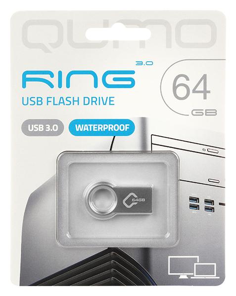 Фото - USB Flash накопитель 64GB Qumo Ring (QM64GUD3-Ring) USB 3.0 детский бассейн stone skunk 3 ring pool 122х25см 190л jilong 17226
