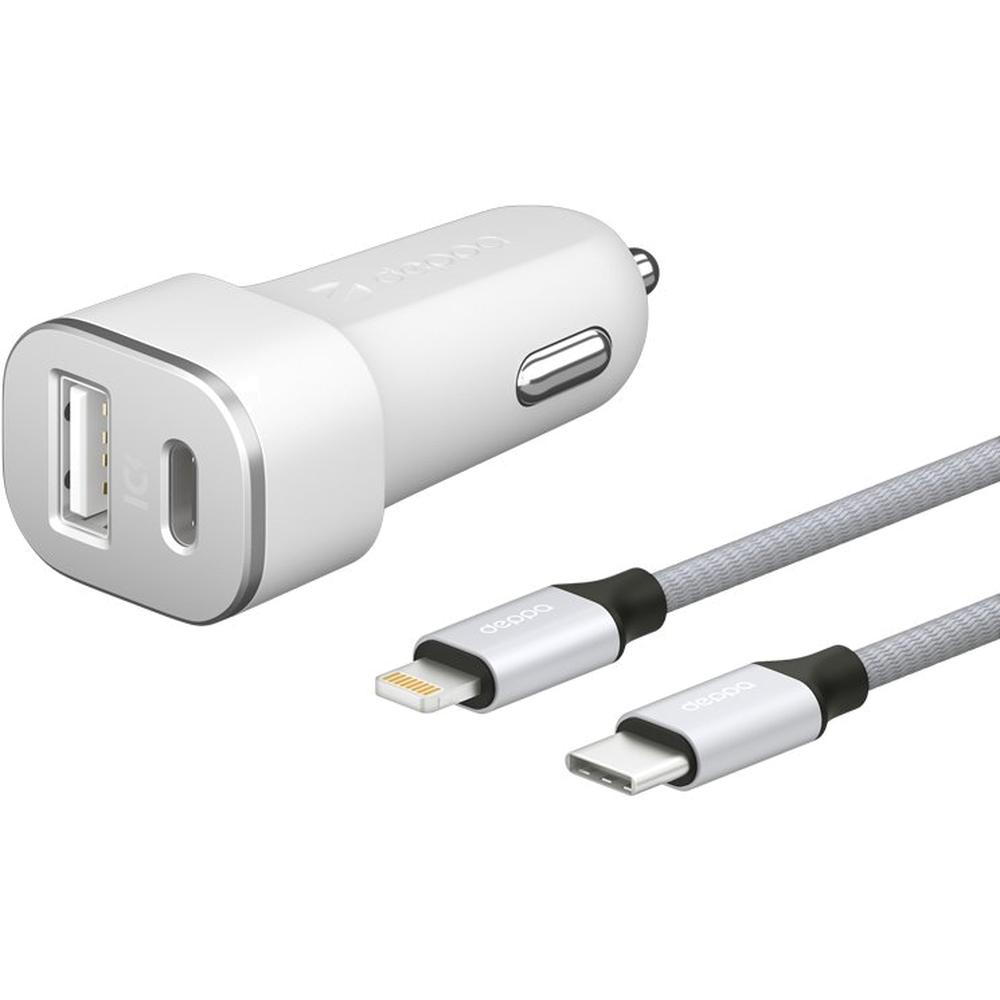 Фото - Автомобильное зарядное устройство Deppa Ultra MFI Apple Lightning, USB A + USB Type-C 18Вт, QC 3.0, Power Delivery, белое (11292) сетевое зарядное устройство deppa power delivery qc 3 0 18вт usb a type c черный 11393