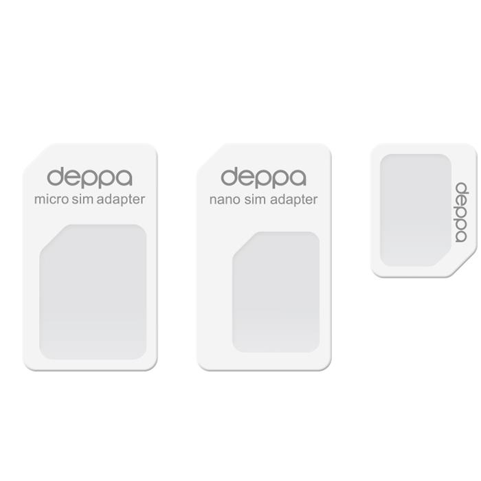 Фото - Переходник для SIM-карт, 3в1, цвет белый, Deppa (74000) адаптер espada подключение дополнительной sim esp sim 43073