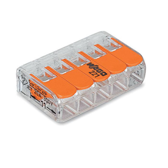 Соединительная клемма Wago 221-415 5-проводная для медных проводов, сечение до 4 мм2
