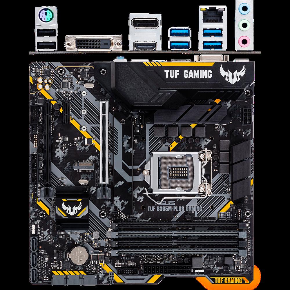 Материнская плата ASUS TUF B365M-Plus Gaming B365 Socket-1151v2 4xDDR4, 6xSATA3, 2xM.2, 2xPCI-E16x, 4xUSB3.1, DVI-D, HDMI, DP, Glan, mATX материнская плата gigabyte b450 gaming x b450 socket am4 4xddr4 6xsata3 raid 1xm 2 2xpci e16x 4xusb3 1 dvi d hdmi glan atx
