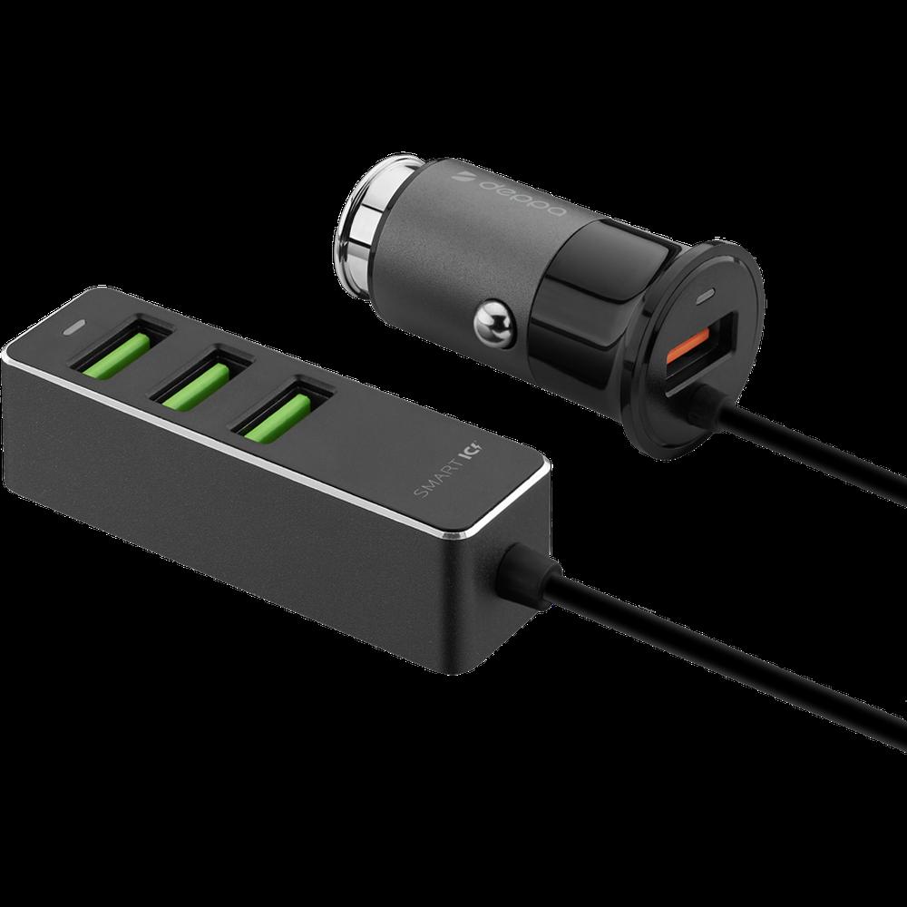 Фото - Автомобильное зарядное устройство Deppa 3xUSB A + USB Type-C QC 3.0, черное (11295) кабель deppa alum usb a usb type c алюминий нейлон usb 3 0 3а 1 2м серебро 72249