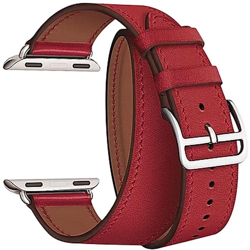 Ремень для умных часов Кожаный ремешок для умных часов Lyambda Meridiana для Apple Watch 38/40 mm Red lyambda ремешок двойной кожаный meridiana для apple watch 38 40 mm черный