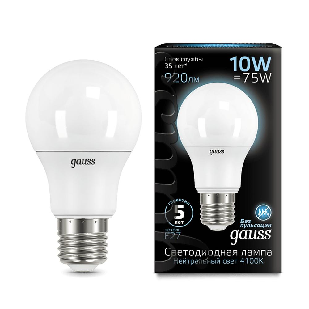 Фото - Светодиодная лампа Gauss Black LED A60 E27 10W 4100K 102502210 лампа светодиодная gauss 102502210 s led a60 10w e27 4100k step dimmable 1 10 50