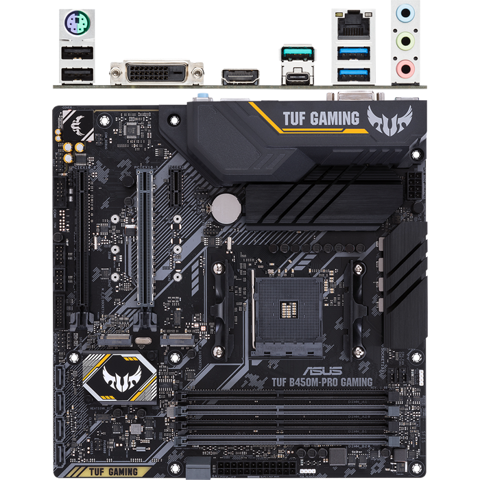 Материнская плата ASUS TUF B450M-Pro Gaming B450 Socket AM4 4xDDR4, 6xSATA3, RAID, 2xM.2, 2xPCI-E16x, 4xUSB3.1, 1xUSB3.1 Type C, DVI-D, HDMI, Glan, mATX материнская плата gigabyte b450 gaming x b450 socket am4 4xddr4 6xsata3 raid 1xm 2 2xpci e16x 4xusb3 1 dvi d hdmi glan atx