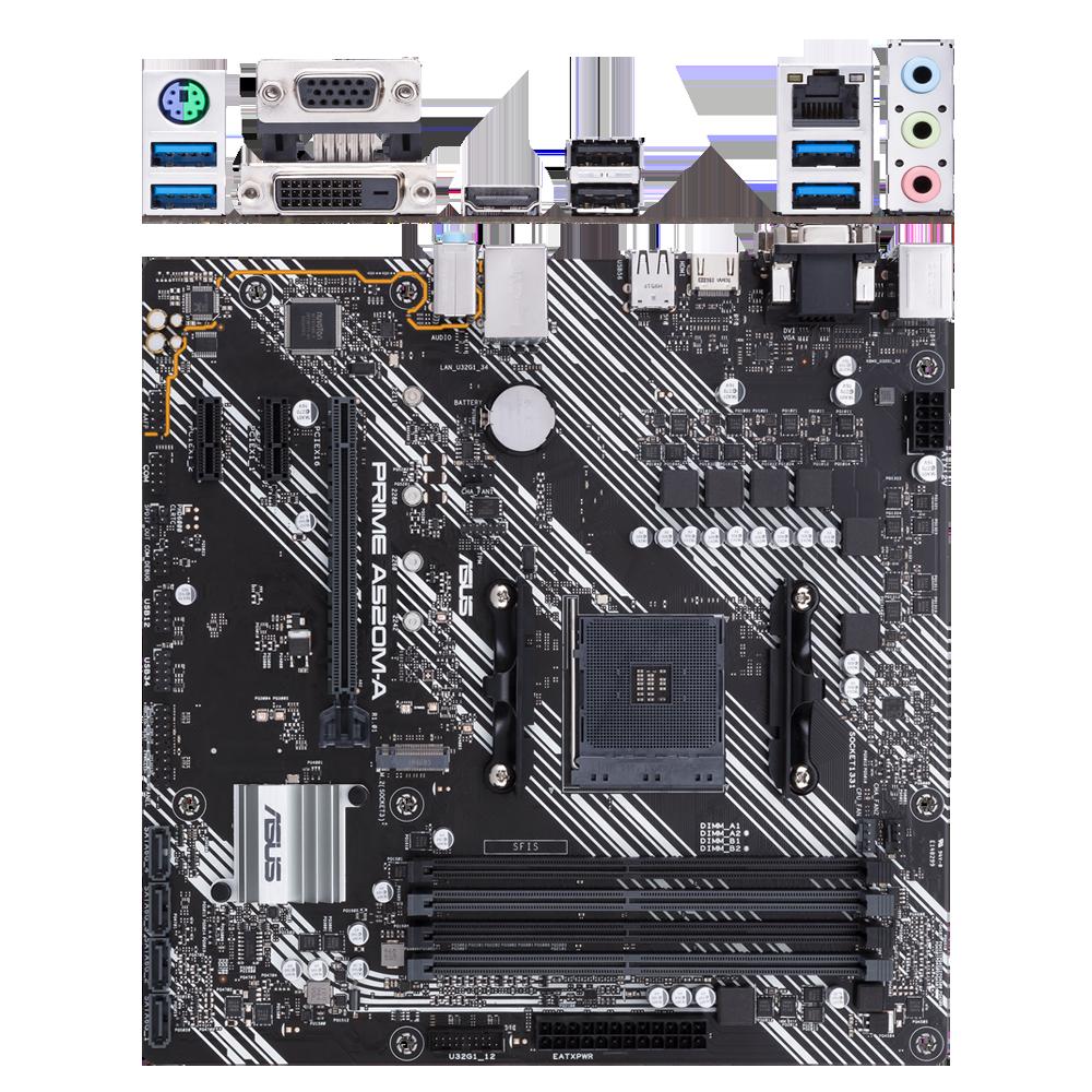 Материнская плата ASUS Prime A520M-A A520 Socket AM4 4xDDR4, 4xSATA3, RAID, 1xM.2, 1xPCI-E16x, 4xUSB3.2, D-Sub, DVI-D, HDMI, Glan, mATX материнская плата asus prime a520m a a520 socket am4 4xddr4 4xsata3 raid 1xm 2 1xpci e16x 4xusb3 2 d sub dvi d hdmi glan matx