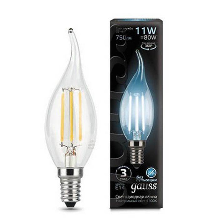 Светодиодная лампа Gauss Black Filament LED Candle Tailed E14 11W 4100K 104801211 светодиодная лампа gauss black filament led candle tailed e14 11w 2700k 104801111