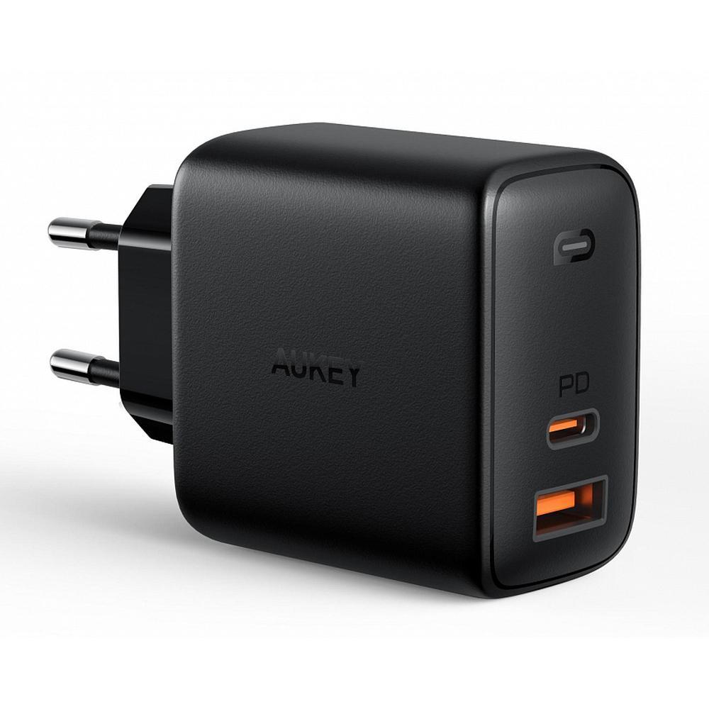Фото - Сетевое зарядное устройство Aukey Omnia Mix PD PA-B3 65W USB+USB-C, черное сетевое зарядное устройство aukey dual port wall charger pa d1 30w usb usb c черное