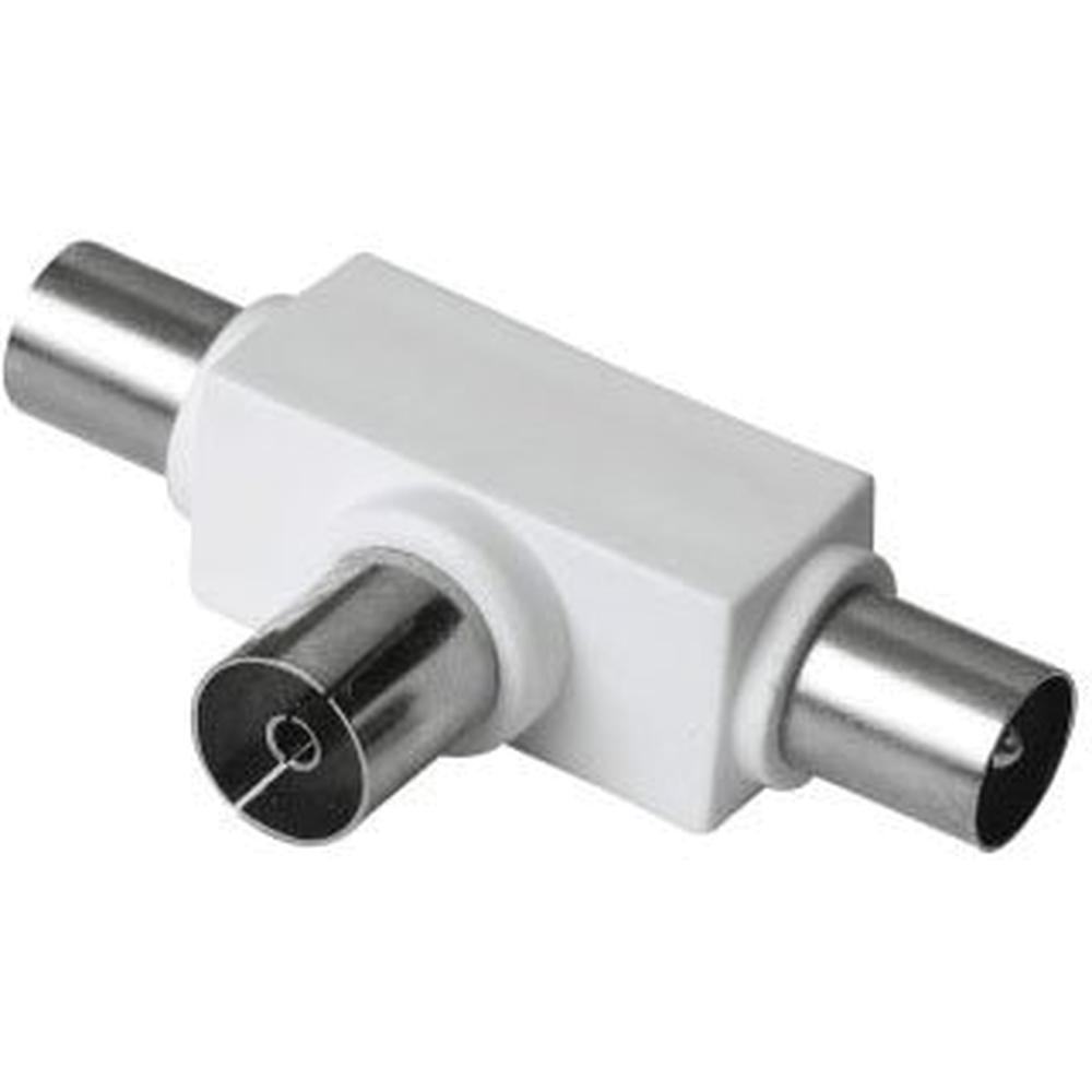 Фото - TV сплиттер Hama 00122471 Coax (f)/Coax (m)/Coax (m) белый кабель антенный hama h 11900 coax m coax f 1 5м белый [00011900]