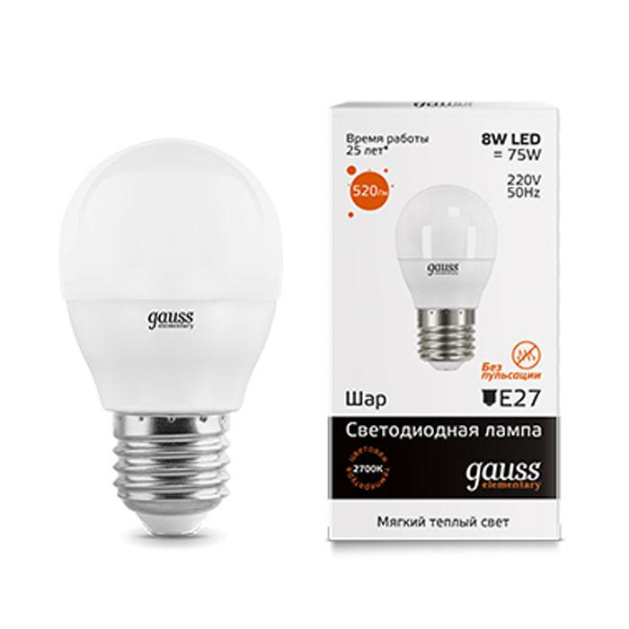 Фото - Светодиодная лампа Gauss Elementary LED Globe E27 8W 3000K 53218 светодиодная лампа gauss elementary led globe e27 6w 6500k 53236
