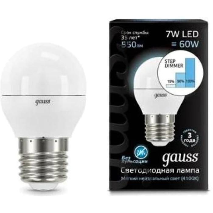 Фото - Светодиодная лампа Gauss Black LED Globe E27 7W 4100K Step Dimmable 105102207-S лампа светодиодная gauss 102502210 s led a60 10w e27 4100k step dimmable 1 10 50