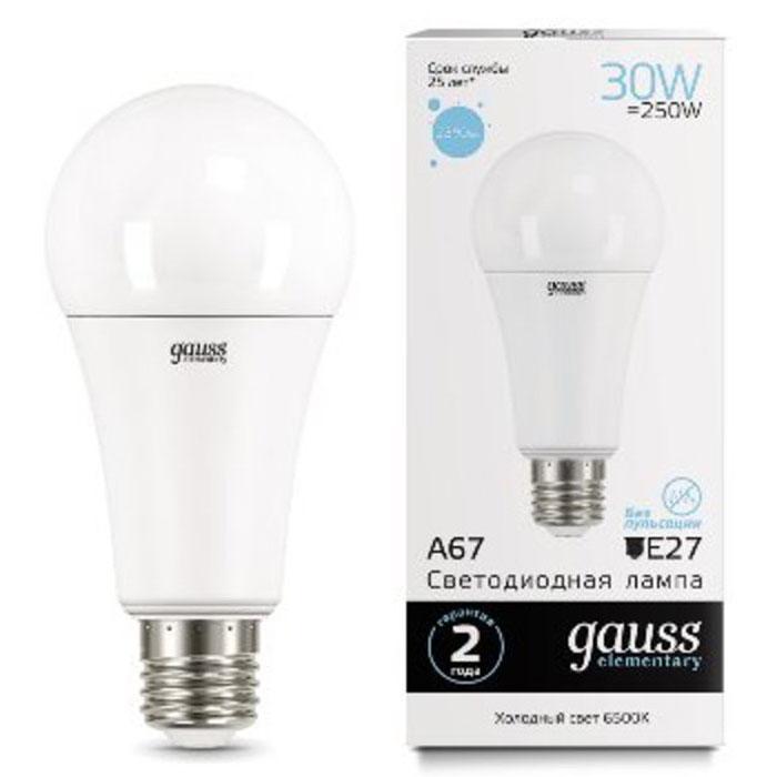 Фото - Светодиодная лампа Gauss Elementary LED A67 E27 30W 6500K 73239 светодиодная лампа gauss elementary led globe e27 6w 6500k 53236