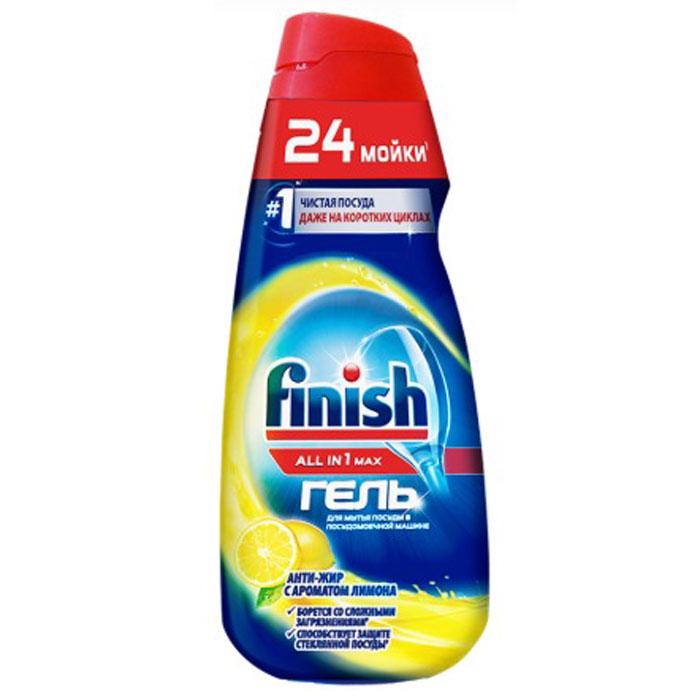 Фото - Finish All in 1 гель для посудомоечной машины антижир (лимон), 600 мл. гель для посудомоечной машины top house all in 1 гель 0 72 л