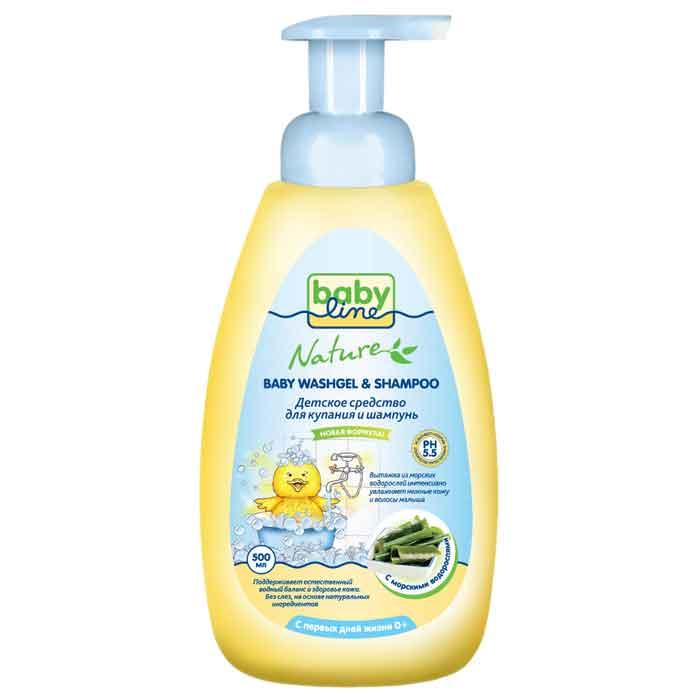 BabyLine Nature Средство для купания и шампунь с морскими водорослями, 500 мл. babyline средство babyline nature для купания шампунь с маслом оливы 500 мл с помпой