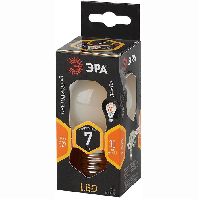 Фото - Светодиодная лампа ЭРА F-LED P45-7W-827-E27 frost Б0027958 эра б0027946 светодиодная лампа шарик f led p45 7w 827 e14
