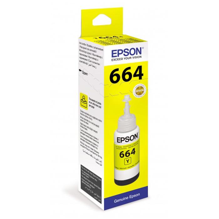 Фото - Чернила EPSON T6644 Yellow для L100/L110/L200/L210/L300 70мл C13T66444A чернила cactus cs ept6643 250 для epson l100 l110 l120 l132 l200 l210 l222 l300 l312 пурпурный