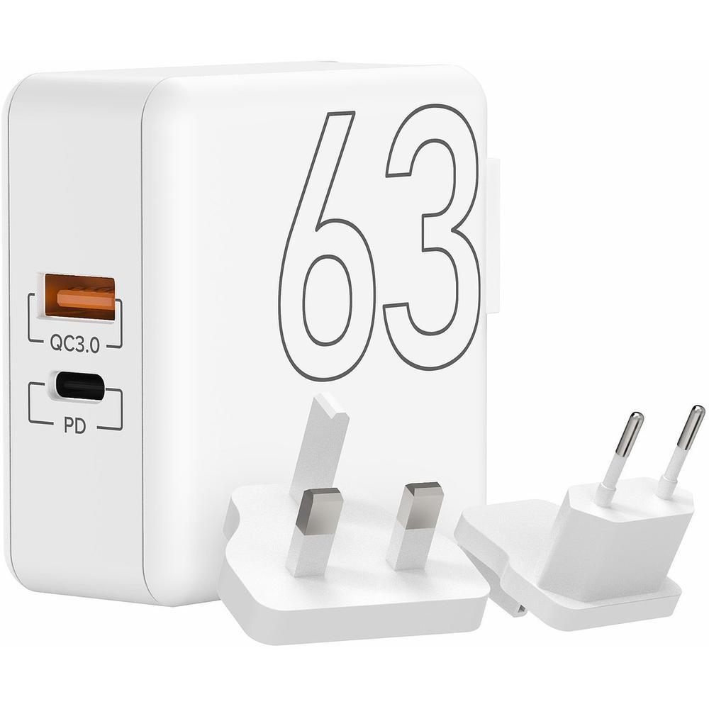 Фото - Сетевое зарядное устройство Lyambda LT63 63Вт USB Type-C(PD) + QC3.0 белый сетевое зарядное устройство aukey wall charger pd 30w usb c pa y21 черное